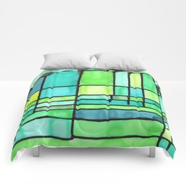 Green Frank Lloyd Wrightish Stained Glass Comforters