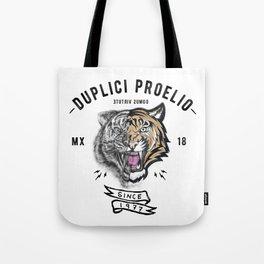 DUPLICI PROELIO Tiger by leo Tezcucano Tote Bag