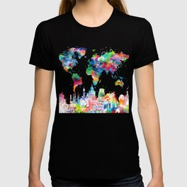 world map watercolor collage T-shirt