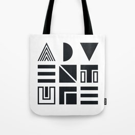 Geometric Adventure B&W Tote Bag
