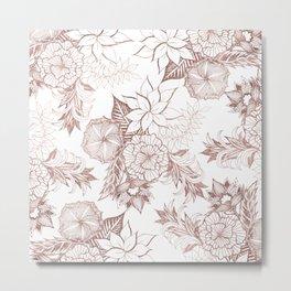 Modern Girly Rose Gold Floral Illustrations Metal Print