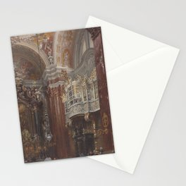 The Interior of the Jacobskirche at Innsbruck Adolph Menzel Stationery Cards