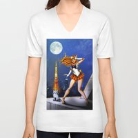 sailor venus V-neck T-shirts featuring Sailor Venus by Nelson Rodrigues