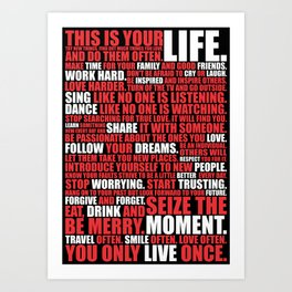 Lab No.4 - Try New Things Find Out Much Things You Love Life Inspirational Quotes Poster Art Print