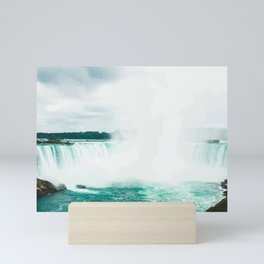 Digital Painting of Misty Niagara Falls on a Slightly Cloudy Day Mini Art Print