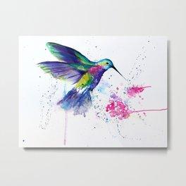 Hummingbird and Flower Metal Print