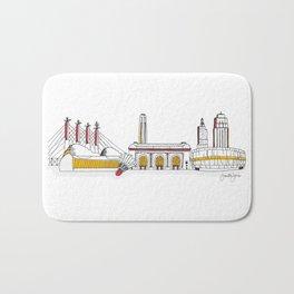 Kansas City Skyline Illustration in KC Football Colors Bath Mat