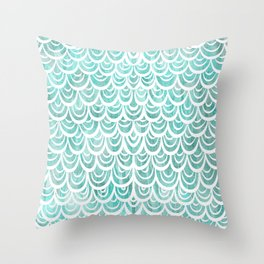 Watercolor Mermaid Turquoise Throw Pillow