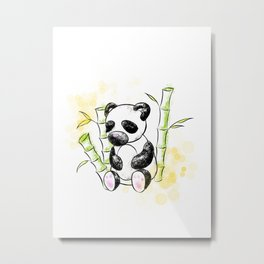 Digital Charcoal Panda (with golden lights) Metal Print