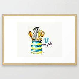 U is for Utensils Framed Art Print