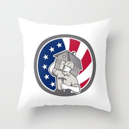 American Building Contractor USA Flag Icon Throw Pillow