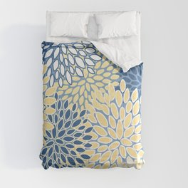 Modern, Flowers Print, Yellow, Blue and White Comforters