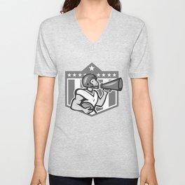 American Football Bullhorn Shield Grayscale Unisex V-Neck
