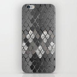 Mermaid Scales Silver Gray Glitter Glam #1 #shiny #decor #art #society6 iPhone Skin
