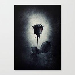 Goth Black Rose Dripping Blood on Black Grunge Canvas Print