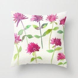 Bee Balm Watercolor Throw Pillow
