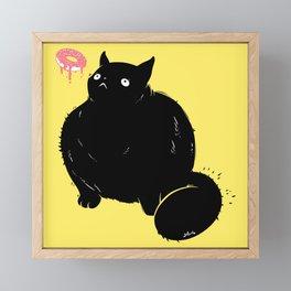 Big Chonker Cat Looking At Donut Art Framed Mini Art Print