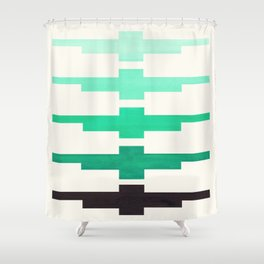 Mid Century Minimalist Ancient Aztec Inca Geometric Pattern Watercolor Teal Turquoise Colorful Gouac Shower Curtain