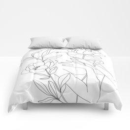 Minimal Line Art Woman with Peonies Comforters