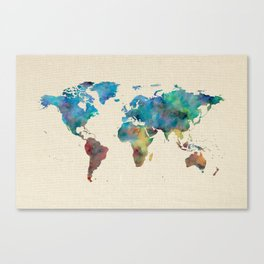 World Map Watercolor Linen Blue Red Yellow Green Canvas Print