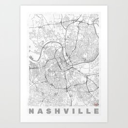 Nashville Map Line Art Print