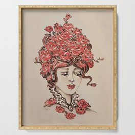 Roses are Red redhead vintage portrait postcard of love and romance Serving Tray