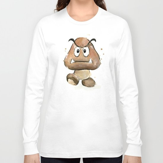 Goomba Watercolor Painting Mario Gamer Videogame Art Long Sleeve T-shirt