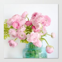 Dreamy Shabby Chic Ranunculus Peonies Roses Print - Spring Summer Garden Flowers Mason Jar Canvas Print