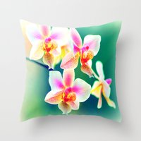 orchid Throw Pillows featuring orchid by haroulita