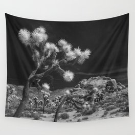 Joshua Trees and Boulders in Infrared Black and White at Joshua Tree National Park California Wall Tapestry