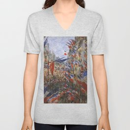 "Claude Monet ""The Rue Saint Denis, 30th of June 1878"" Unisex V-Neck"