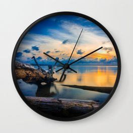 Driftwood Sunset Wall Clock