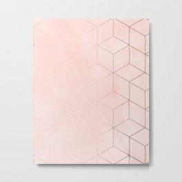Rose Gold Pink Pastel Geometric Cubes Metal Print
