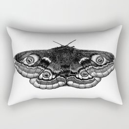 Moth Dotwork Drawing Rectangular Pillow