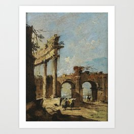 Francesco Guardi A CAPRICCIO OF A RUINED CORINTHIAN COLONNADE AND A DOUBLE-ARCHED GATEWAY WITH GENTL Art Print