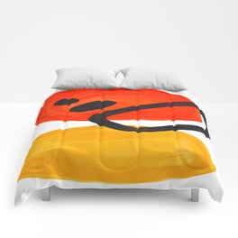 Midcentury Modern Colorful Abstract Pop Art Space Age Fun Bright Orange Yellow Colors Minimalist Comforters