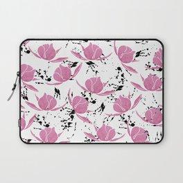 Pink black watercolor paint splatters floral Laptop Sleeve