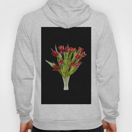 Red cut tulips bouquet in glass vase Hoody