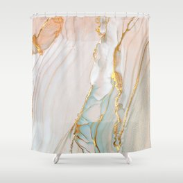 Blush Gold Alcohol Ink Abstract 1 Shower Curtain