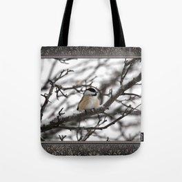 Winter Windblown Black-Capped Chickadee Tote Bag