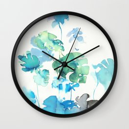Tropical leaves, (collab Dylan Silva!) Wall Clock