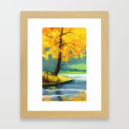 Yellow tree on a Lake Framed Art Print