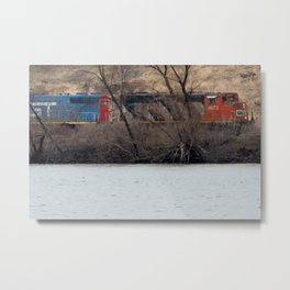 Train by River in late fall Metal Print