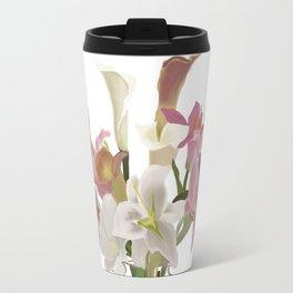 vase and flowers on white background . art Travel Mug