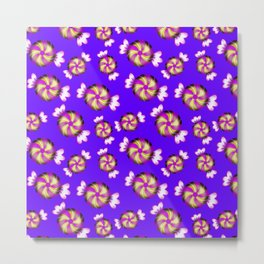Cute lovely sweet decorative caramel toffee candy in shiny wrappers seamless pattern. Candy store. Metal Print