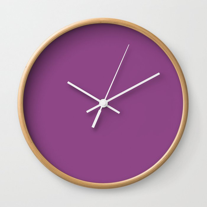 Plum Purple Solid Color Wall Clock By Skylinesquirrel