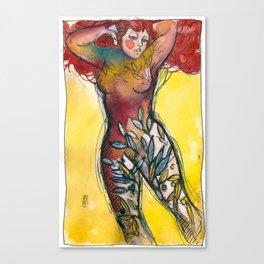 donna albero con capelli rossi Canvas Print
