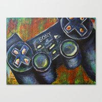 playstation Canvas Prints featuring Playstation  by Megan Bailey Gill