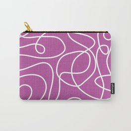 Doodle Line Art   White Lines on Pinky Purple Carry-All Pouch