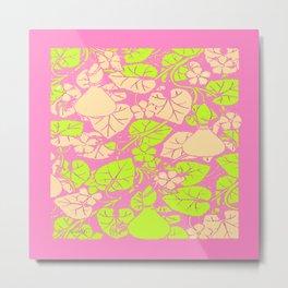 Delicate Pink Garden Art Lime Color Vines-leaves pattern Metal Print